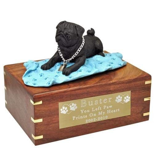 Black Pug on blanket Cremation Urn with engraved plaque, large