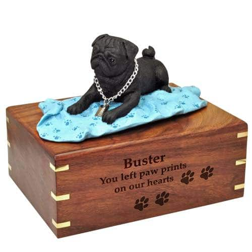 Black Pug on blanket Cremation Urn with engraved wood, large