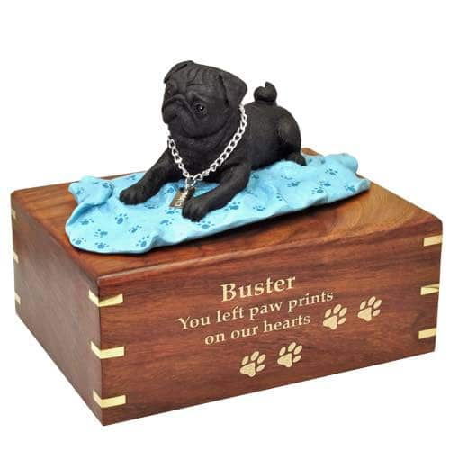 Black Pug on blanket Cremation Urn with engraved wood, gold fill, large