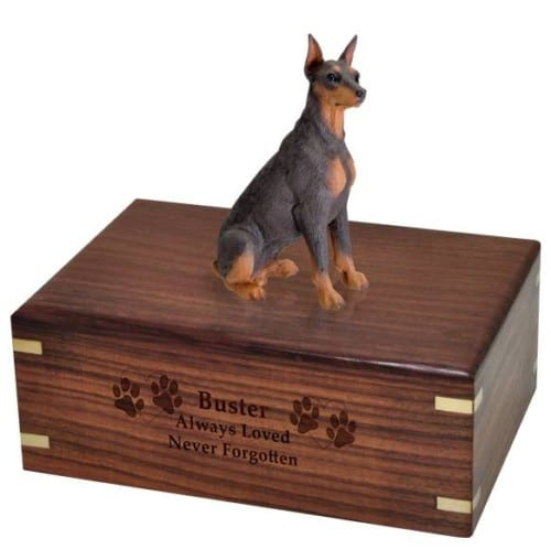 DF25B Red Doberman Pinscher Cremation Urn, with engraved wood