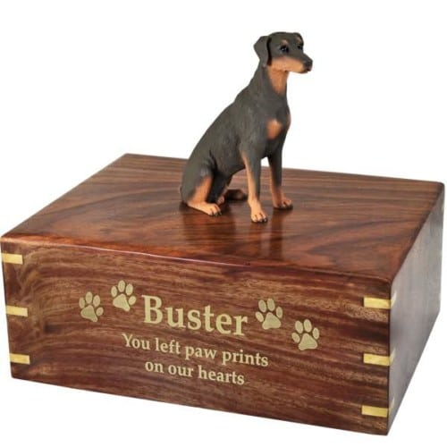 DF101B Red Doberman Pinscher Cremation Urn, with engraved wood, gold fill