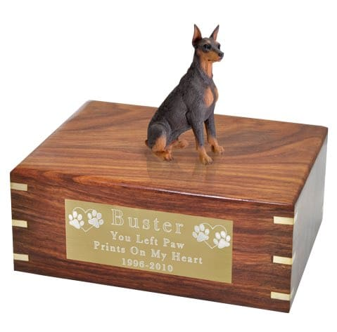 DF25B Red Doberman Pinscher Cremation Urn, with engraved plate, large
