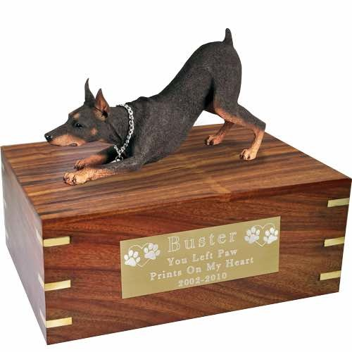 Doberman Pinscher Cremation Urn, with engraved plate, x-large, DFL25B
