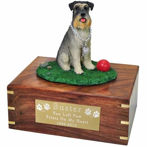 Schnauzer Cremation Urn with engraved plaque, large