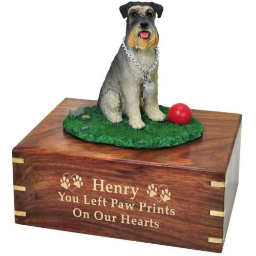 Schnauzer Cremation Urn with engraved wood, gold fill