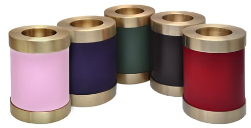 brass candle holder urns, color samples
