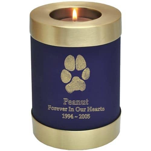 Actual paw print candle holder cremation urn, blue nightfall