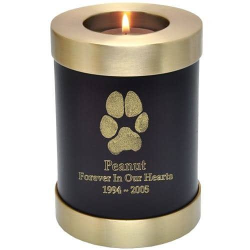 Actual paw print candle holder cremation urn, espresso brown
