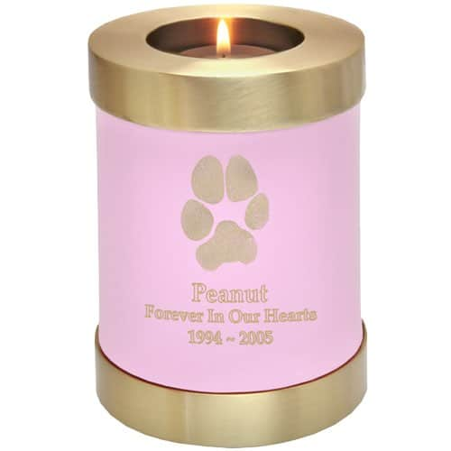 Actual paw print candle holder cremation urn, pink
