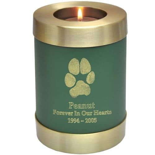 Actual paw print candle holder cremation urn, sage green