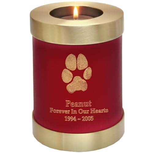 Actual paw print candle holder cremation urn, scarlet red