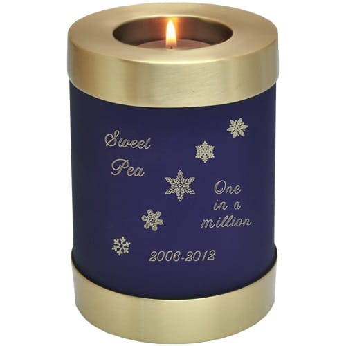 Blue nightfall brass candle holder cremation urn, engraved