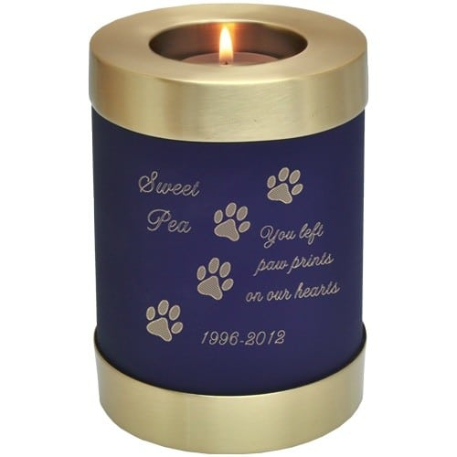 Blue nightfall brass candle holder cremation urn, engraved with paw print clip art