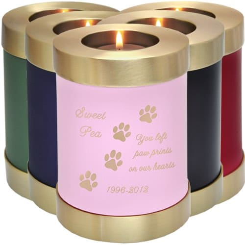 Engravable brass candle holder cremation urn, color samples