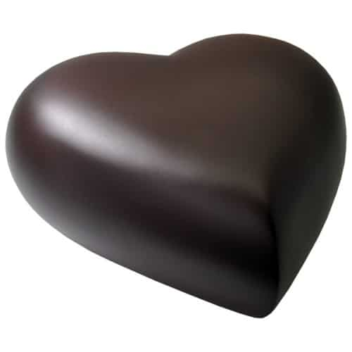 Engraved brass heart cremation urn, espresso brown, side view