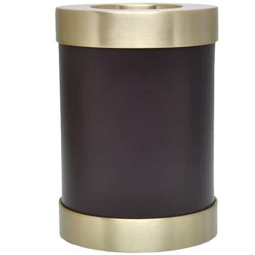 Espresso brown brass candle holder cremation urn