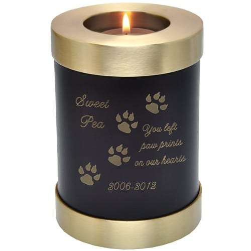 Espresso brown brass candle holder cremation urn, engraved with paw print clip art