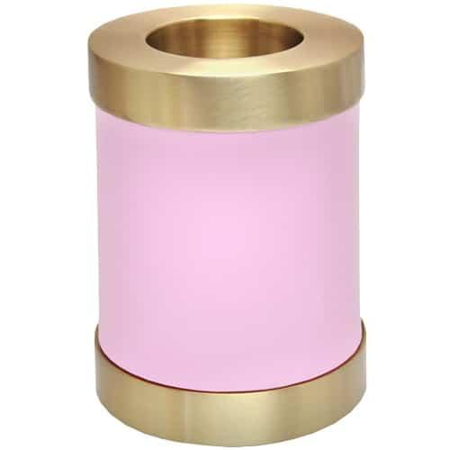 Pink brass candle holder cremation urn