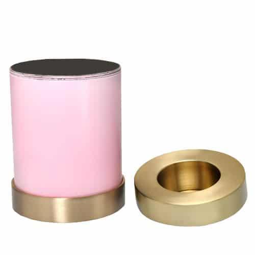 Candle holder cremation urn, pink