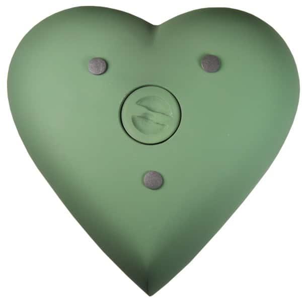 Engraved brass heart cremation urn, sage green, rear view