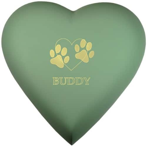 Engraved brass heart cremation urn, sage green
