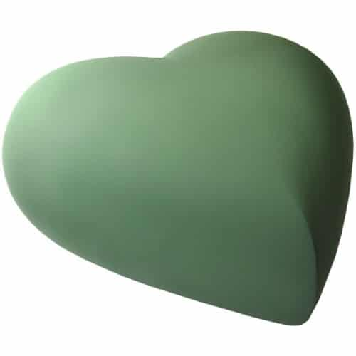Engraved brass heart cremation urn, sage green, side view
