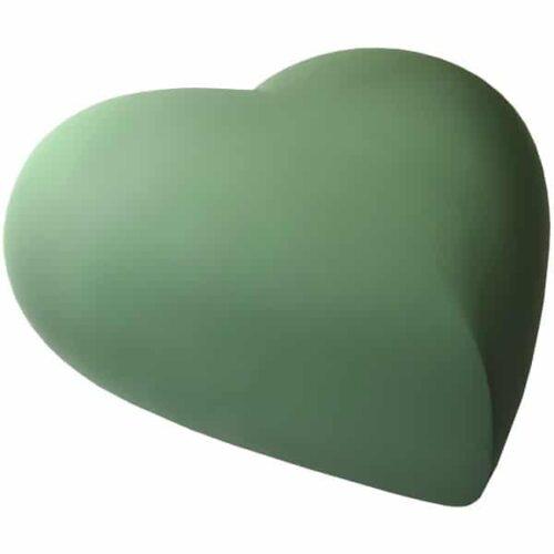 Engraved brass heart cremation urn, sage green, side view