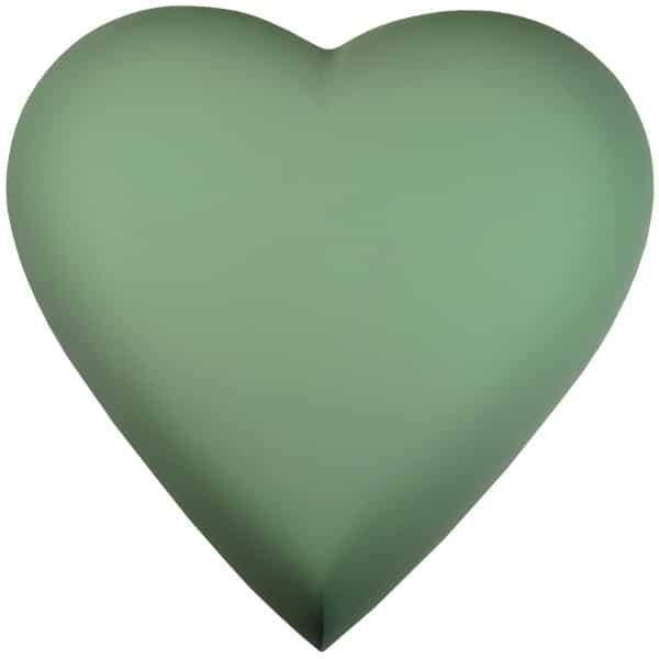 Engraved brass heart cremation urn, sage green