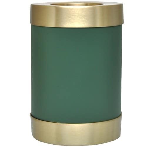 Sage green brass candle holder cremation urn