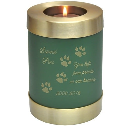 Sage green brass candle holder cremation urn, engraved with paw print clip art