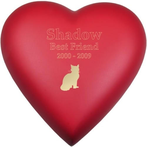 Engraved brass heart cremation urn, red scarlet, cat engraving