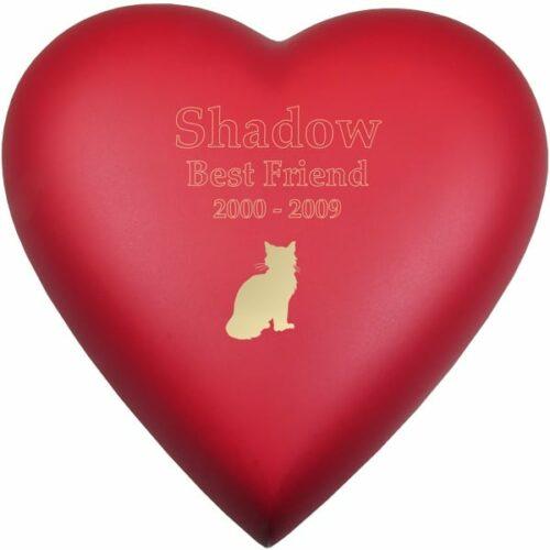 Engraved brass heart cremation urn, red scarlet, cat engraving