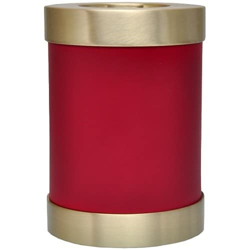 Scarlet brass candle holder cremation urn