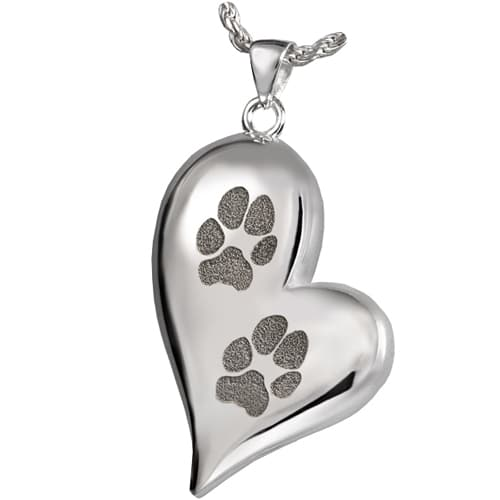 Teardrop heart paw print cremation pendant
