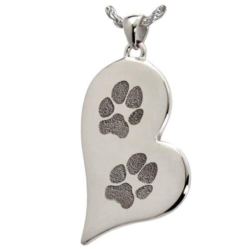 Teardrop heart paw print cremation pendant