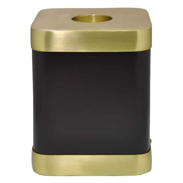 Square brown brass candle holder urn for cat or dog