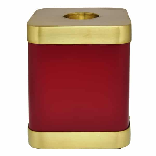 Square red brass candle holder urn for cat or dog