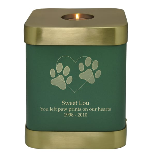 Square green brass candle holder urn for cat or dog, engraved