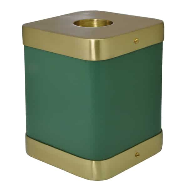 Square green brass candle holder urn for cat or dog