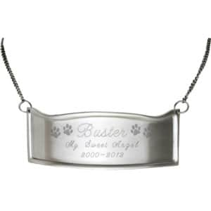 Engraved curved hanging nameplate plaque for cremation urn, brass with silver finish
