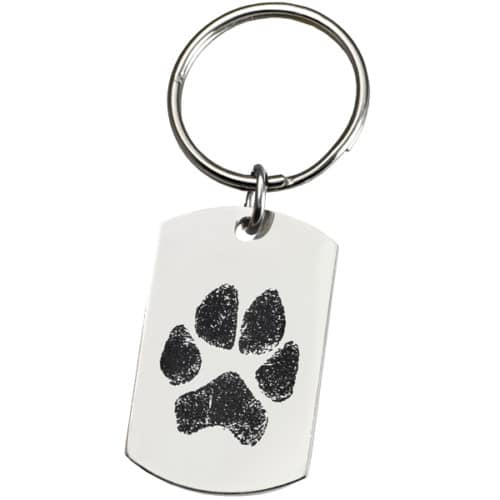 Paw print engraved stainless steel keychain