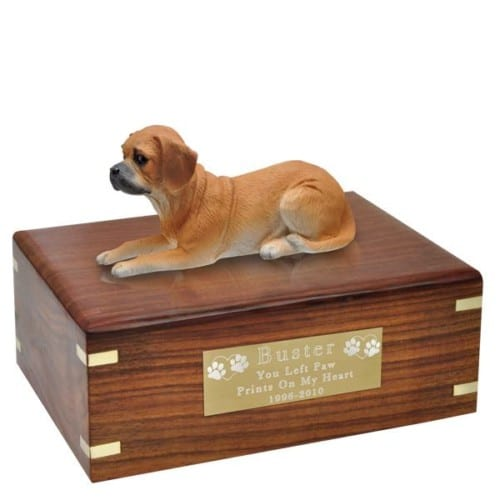 Puggle cremation urn with engraved brass plate