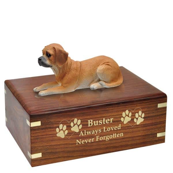 Puggle cremation urn with engraved wood, golf fill