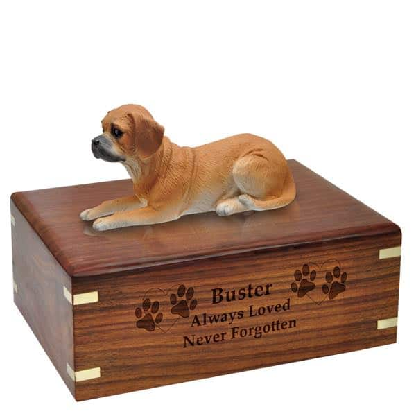 Puggle cremation urn with engraved wood