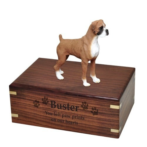 Boxer figurine cremation urn, uncropped ears, engraved wood urn