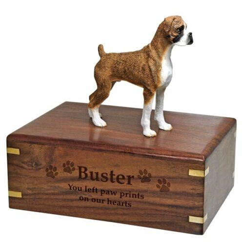 Brindle Boxer Dog Figurine Urn, uncropped ears, wood engraving