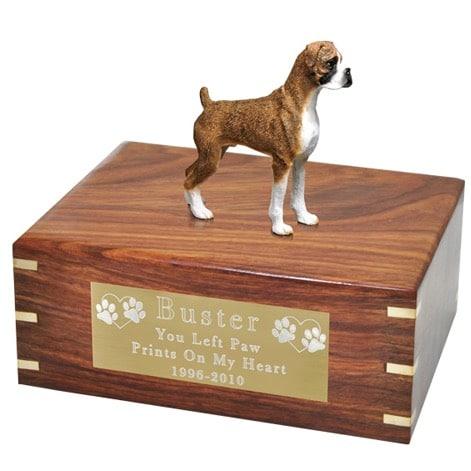Brindle Boxer Dog Figurine Urn, uncropped ears, large