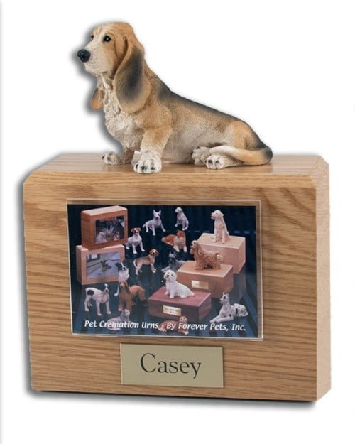 Hardwood photo hold urn with Basset Hound dog figurine on top