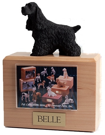 Black Cocker Spaniel figurine photo cremation urn
