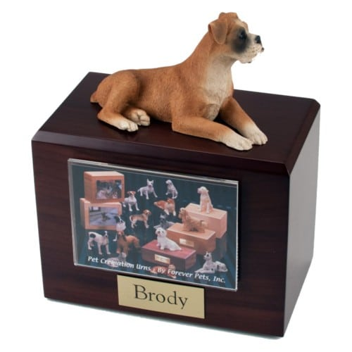 Laying Fawn Boxer figurine photo cremation urn